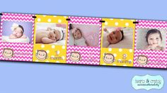 Pink Curious George First Year Photo Banner / by HeartsandCraftsy