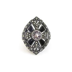 Sterling Amethyst Onyx Marcasite Ring  Art Deco by zephyrvintage