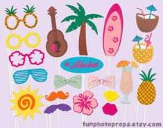 Luau Party Photobooth Props  19 Piece Photo Booth by FunPhotoProps, $34.95