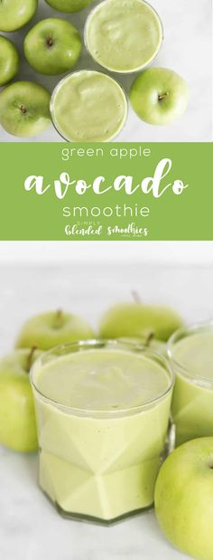 Green Apple and Avocado Smoothie - avocado makes this smoothie so rich and smooth and green apples makes this tart and refreshing Avocado Smoothie, Lunch Smoothie, Green Smoothie Cleanse, Fruit Smoothies, Healthy Smoothies, Juice Cleanse, Smoothie Cup, Cleanse Detox, Breakfast Smoothies