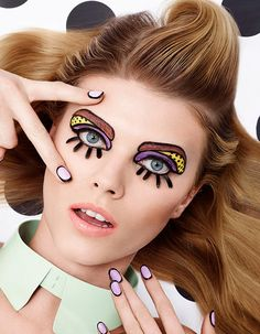 Comic Make Up: Craig & Karl for Vogue Japan. Trucco da Fumetto per Vogue Japan Pop Art Makeup, Makeup Inspo, Makeup Inspiration, Beauty Makeup, Eye Makeup, Hair Makeup, Makeup Ideas, Comic Makeup, Cartoon Makeup