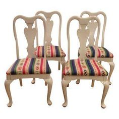 A Queen Anne Chairs Freshly Lacquered In White Weatherproof Paint And  Upholstered In Colorful Aztec Print