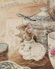 Mice Listen to Tailor on Shelf by Beatrix Potter | Art Posters & Prints