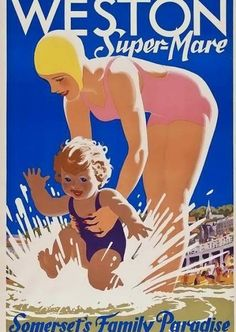 Weston Super Mare , Somerset - England vintage travel poster #railways #essenzadiriviera.com