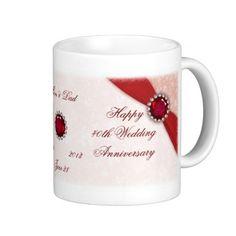 Shop Damask Wedding Anniversary Mug created by Digitalbcon. Ruby Anniversary, 40th Wedding Anniversary, Wedding Mugs, Damask, Photo Mugs, Funny Jokes, Monogram, Make It Yourself, Prints