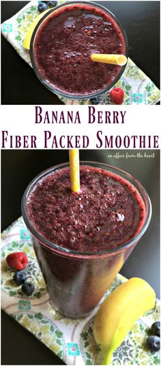 Banana Berry Fiber Packed Smoothie - An Affair from the Heart -- Are you wanting to add more fiber to your diet? This smoothie is delicious and HIGH in fiber and LOW in calories. Fiber Diet, Fiber Rich Foods, High Fiber Foods, High Fiber Recipes, High Fiber Snacks, High Fiber Breakfast, Smoothie Prep, Raspberry Smoothie, Smoothie Recipes