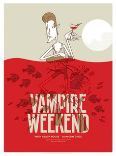 Vampire Weekend concert poster  Seattle- Aug 29, 2010  hand made 4 color screen print  poster measures 18 inches x 24 inches  signed & numbered edition of 100  artist:  Invisible Creature
