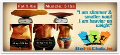 Fat Vs Muscle. Fat is 5 times bigger than muscle. Check your fat percentage and your muscle mass percentage and shape up, becoming healthier with Be Fit Club at Wellness Weight Loss Class