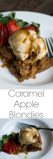 These decadent, buttery blondies are filled with sweet apples and a dairy-free caramel ribbon. Topped with dairy-free cinnamon ice cream and a sweet caramel drizzle, they are the perfect fall dessert!