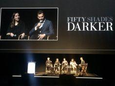 """Fifty Shades Darker"" Promo   Dakota Johnson, Jamie Dornan, Erika James and James Foley at the Universal Studios, 9/28/16"