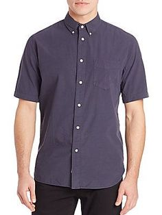 Rag & Bone Woven Short Sleeve Button-Up - Navy - Size