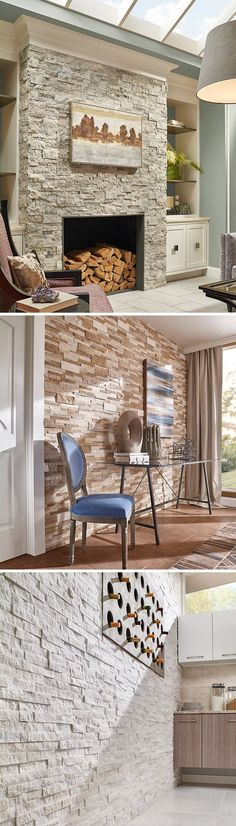 Layer on the texture for a high-style look! Stacked natural stone ledger panels and split face mosaics bring tactile and architectural details to walls you'll love. Create a statement look by transforming an ordinary wall into a stunning feature wall with one of these beauties.: