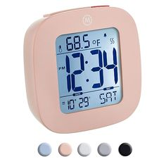 Marathon Small Compact Alarm Clock with Repeating Snooze, Light, Date and Temperature - Pink Small Alarm Clock, Cute Alarm Clock, Alarm Clocks, My New Room, Easy To Use, Digital Alarm Clock, Baby Shop, Cleaning Wipes, Cool Stuff