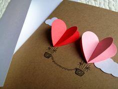 Couple Heart Hot Air Balloon Card. $3.00, via Etsy.