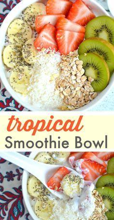 Healthy & Delicious Vegetarian Breakfast Recipe — Tropical Smoothie Bowl made with Greek yogurt, fresh fruit, shredded coconut, granola & chia seeds!