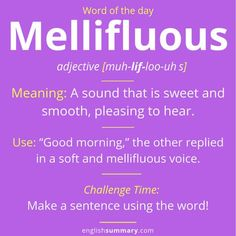 Mellifluous Meaning and Example Interesting English Words, Unusual Words, Weird Words, Learn English Words, English Lessons, Cool Words, Advanced English Vocabulary, English Vocabulary Words, English Phrases