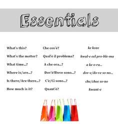 The essentials in Italian from http://nativeitalian.tumblr.com