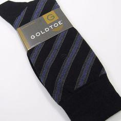 GOLD TOE Men's Repp Stripe Dress Socks Combed Cotton BLACK/CHARCOAL/VIOLET O/S #GOLDTOE #Dress