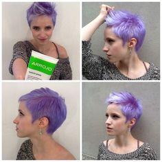 Lavender purple pixie hair cut and color. Short Pixie Haircuts, Pixie Hairstyles, Short Hair Cuts, Cool Hairstyles, Short Hair Styles, Pixie Cuts, Red Pixie, Punk Pixie Haircut, Purple Pixie Cut