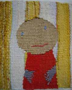 yellow stripe tent, 6 x6 cms, miniature tapestry weaving. $200
