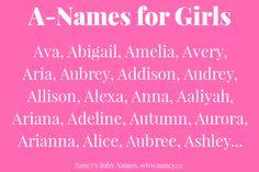 A-Names for Baby Girls girl names girl names 19 Girl Names elegant Girl Names rare girl names vintage Girl Names with meaning Baby Girl Names Elegant, Cute Baby Girl Names, Girls Names Vintage, Unique Girl Names, Boy Names, First Names, Baby Girls, Names Baby, Baby Baby