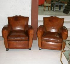 A Pair Of French Leather Club Chair,