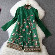 Embroidered Lace Jacket in Green
