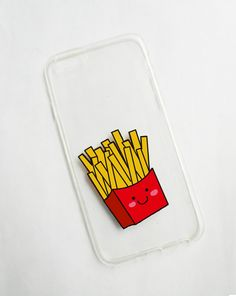 Hand painted french fries phone cases - iPhone 6 case clear- iPhone 6 case - iPhone 6s case - Fast foods phone case - Clear phone case - pinned by pin4etsy.com