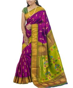 Purple Green Pure Paithani Silk Saree Meena Paisley Buti