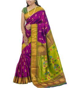 Purple Green Pure Paithani Silk Saree Meena Paisley Buti