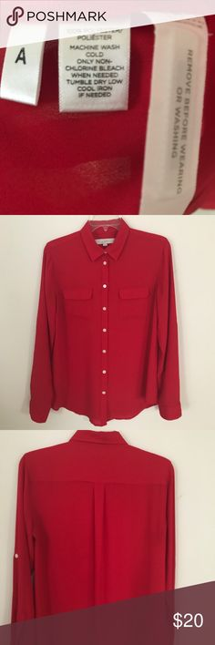 LOFT red blouse size S LOFT red long sleeve button up blouse.  Detailed with button tab sleeve and two front pockets. Looks amazing with dress pants, pencil skirt, as well as dressed down with jeans. EUC. Machine wash.  Smoke and pet free home LOFT Tops Blouses