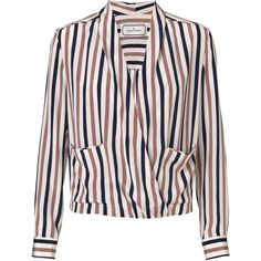By Malene Birger Shukti silk blouse (£125) ❤ liked on Polyvore featuring tops, blouses, shirts, malene birger, silk shirt, pink silk blouse, pocket shirt, wrap top and wrap around top