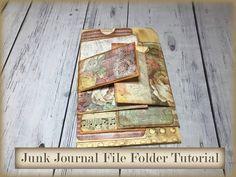 Junk Journal File Folder Tutorial, Junk Journaling for Beginners, Easy Junk Journal Tutorials - YouTube Art Journal Tutorial, Journal Template, Handmade Journals, Handmade Books, Scrapbooking, Scrapbook Cards, Art Journal Inspiration, Journal Ideas, Art Journal Techniques
