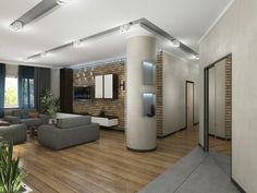 Интерьер гостиной с элементами лофт #дизайн #интерьер #лофт