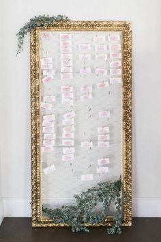 20 Unique Wedding Seating Chart Displays DIY the seating chart for your wedding with this pretty frame and leaf combo. This DIY place card idea gives a romantic, vintage, and outdoor feel to any wedding or event. Wedding Seating Display, Reception Seating, Seating Chart Wedding, Wedding Reception, Reception Ideas, Wedding Tables, Mirror Seating Chart, Table Seating Chart, Wedding Cards