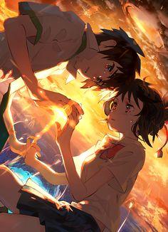 Wallpapers de Kimi no wa (Your Name) para celular! Your Name Anime, Anime One, Anime Art Girl, Animes Wallpapers, Cute Wallpapers, Mitsuha And Taki, Epic Backgrounds, Kimi No Na Wa Wallpaper, Your Name Wallpaper