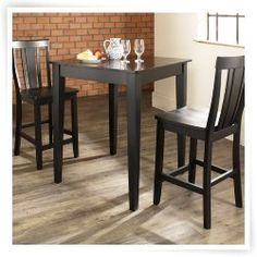 Crosley 3-Piece Pub Dining Set with Tapered Leg and Shield Back Stools