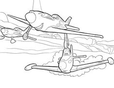 Ripslinger Surpass Dusty on the Race in Disney Planes Coloring Page
