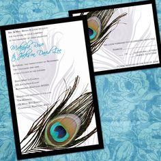 Printable Peacock Wedding Invitations - Peacock Feather - Digital Files - DIY Wedding