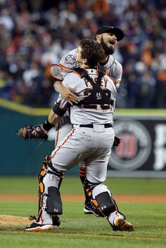 Sergio and Buster celebrate clinching the world series championship for 2012!!!