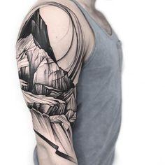 Landscape sleeve tattoo