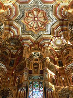 Arab Room ceiling inside Cardiff Castle, Wales (by flambard).
