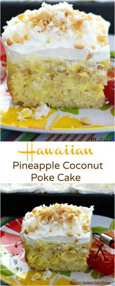 Hawaiian Pineapple Coconut Poke Cake – The poke cake phenomenon reached a fever pitch at one point. It seemed that poke cakes in every sing. 13 Desserts, Delicious Desserts, Baking Desserts, Plated Desserts, Food Cakes, Cupcake Cakes, Cake Cookies, Pudding Cookies, Cookies Vegan
