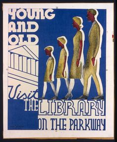 Work Projects Administration Poster Collection - Library of Congress - Poster promoting libraries, showing a family going to the library. - March 27, 1937.