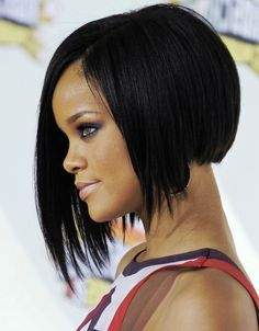 Rihanna Hairstyles rihanna short straight alternative side on view Rihanna Angled Bob Haircuts Ofjr