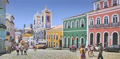 (© Hervé Gyssels/Getty Images)Centro histórico de Salvador conhecido como Pelourinho