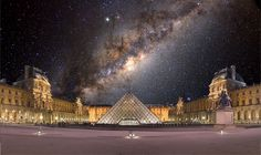 The Louvre at night - cool photo! Most Visited, Triangles, Art Museum, Cool Photos, Louvre, Spaces, Night, World, Building