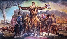 Tragic Prelude by John Steuart Curry shows abolitionist John Brown leading the clash of forces in Bleeding Kansas as a prelude to the Civil War. (A framed print of this is currently hanging above our TV)