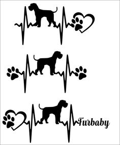 Commercial use svg-SVG Cut File Giant Schnauzer- Natural Ears -Natural Tail- Heartbeat paw with heart - Scrapbook, Tshirt PDF, Dxf, PNG, by TheLazyIdesigns on Etsy