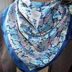 Vintage Art of the Scarf Silk Scarf - 100 Percent Silk Scarf - Tie Rack Silk Scarf - London Designed Scarf - Made in Japan Scarf - Floral